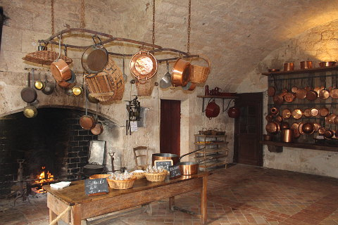the kitchen at Chateau de Bridoire